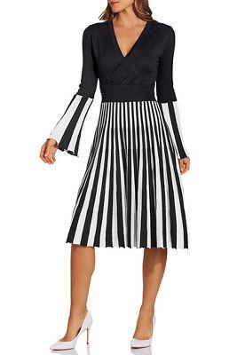 Stripe surplice dress