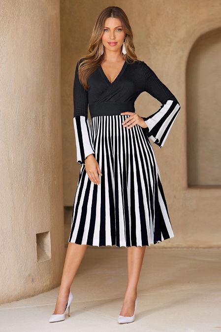 Stripe surplice dress image