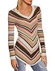 Variegated Stripe V Neck Sweater Photo