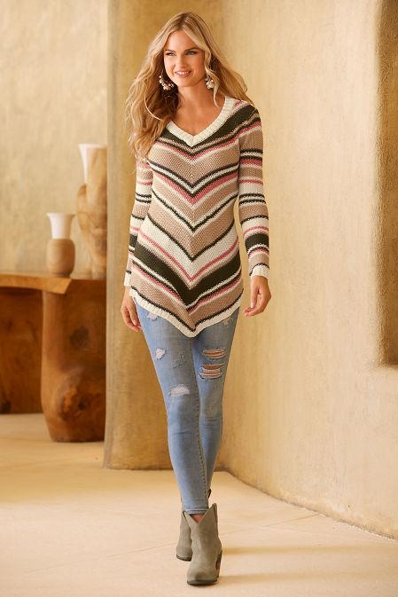 Variegated stripe v neck sweater image
