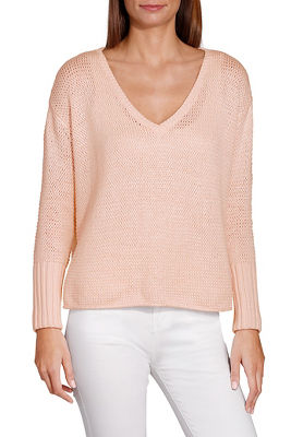 V neck ribbed cuff marled sweater