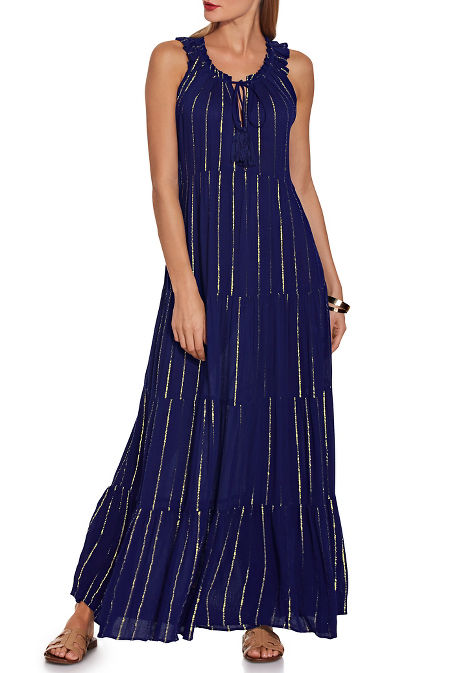 Woven tiered shimmer maxi dress image