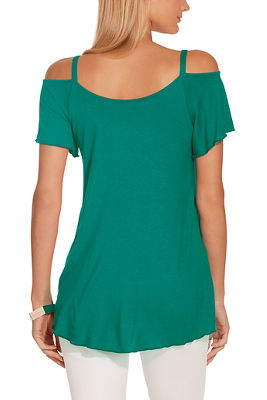 Display product reviews for Cold shoulder flutter sleeve tee