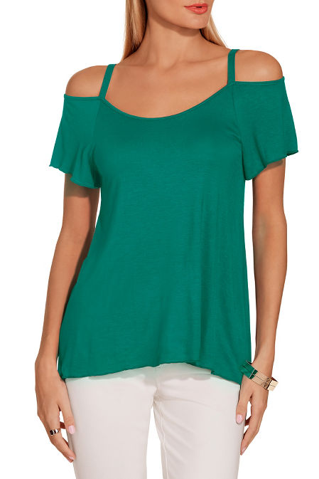 Cold shoulder flutter sleeve tee image
