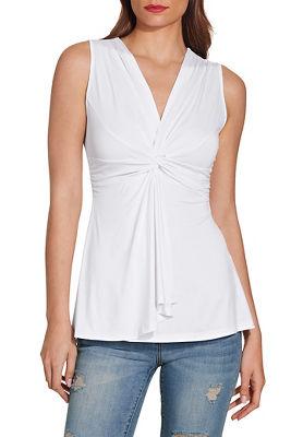 Sleeveless knot front drape top