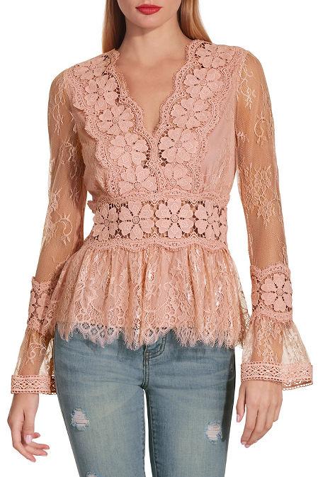 V neck floral lace top image