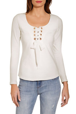 Display product reviews for Lace up square neck top