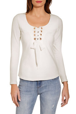 Lace up square neck top