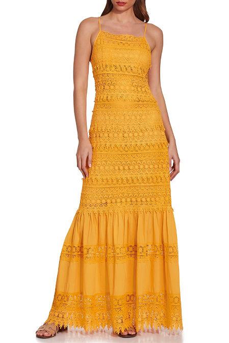 Sleeveless lace tiered maxi dress image