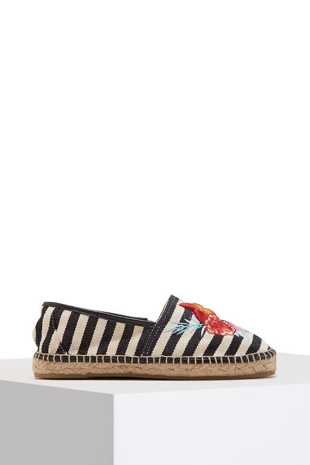 Embroidered stripe espadrille image