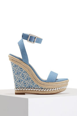 Embroidered denim wedge