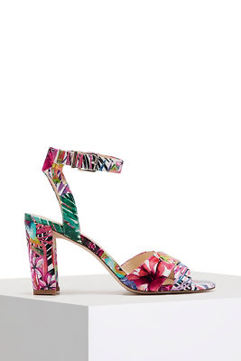 Floral ankle wrap heel