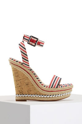 striped studded wedge