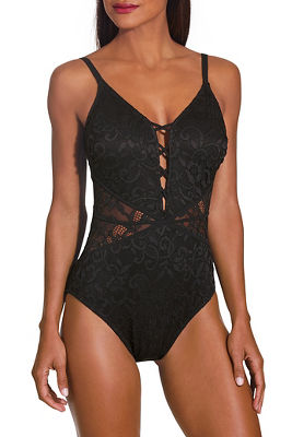 Lace up front one piece swimsuit