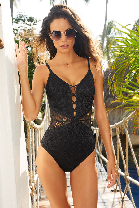 Lace up front one piece swimsuit image