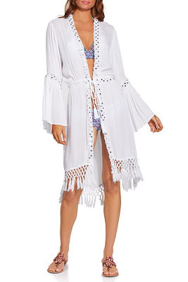 mirror trim kimono cover up