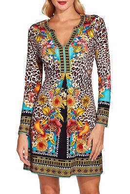 Floral animal shift dress