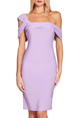 Asymmetric one shoulder sheath dress