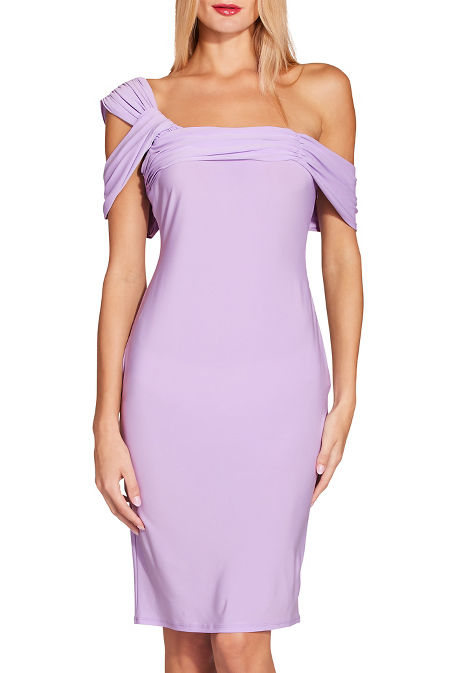 Asymmetric one shoulder sheath dress image