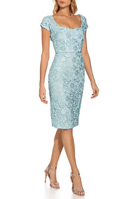 Cap sleeve lace sheath dress