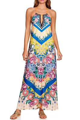Chevron floral print maxi dress