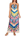 Chevron Floral Print Maxi Dress Photo