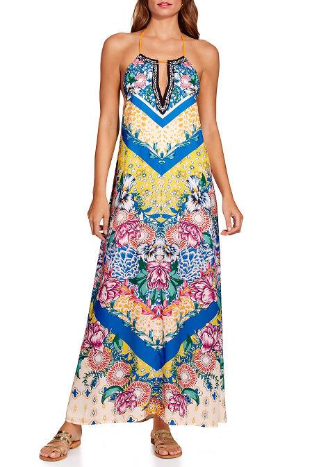 Chevron floral print maxi dress image
