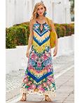 Chevron Floral Print Maxi Dress Photo