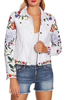 Colorful embroidered denim jacket