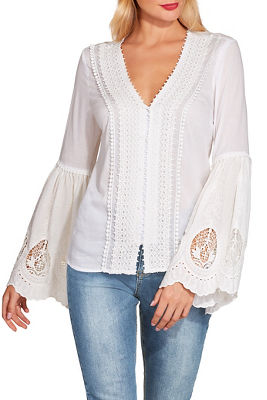 Flare sleeve eyelet lace top