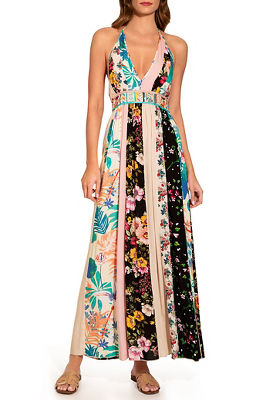 halter stripe floral maxi dress