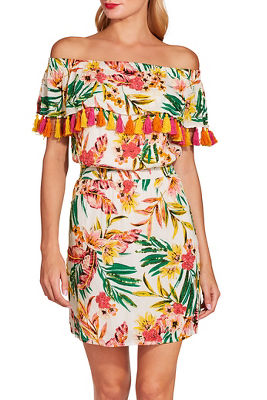 Off the shoulder tassel tropical print dress