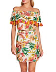 Off The Shoulder Tassel Tropical Print Dress Photo