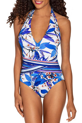 Ribbed floral one piece swimsuit