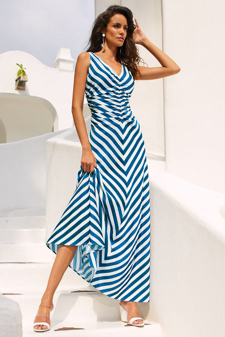 Ruched v neck stripe maxi dress image