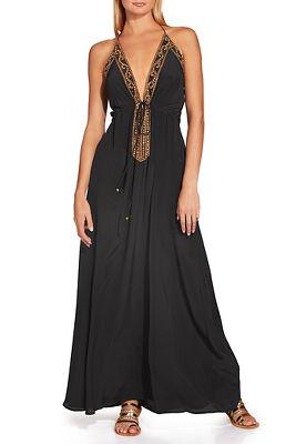 sexy halter beaded maxi dress