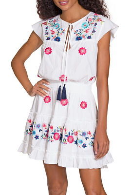 Smocked embroidered poplin dress