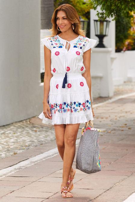 Smocked embroidered poplin dress image