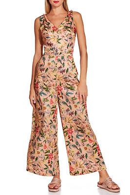 Tie shoulder floral jumpsuit