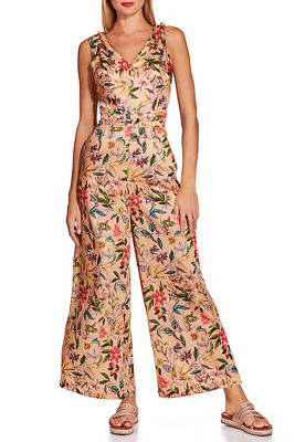 Tie shoulder floral jumpsuit