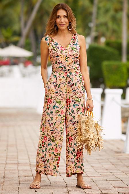 Tie shoulder floral jumpsuit image