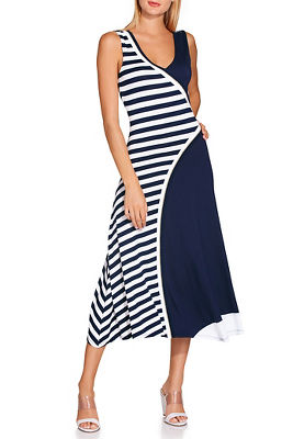 Display product reviews for V neck angled stripe dress