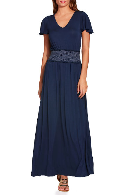 V neck smocked maxi dress image