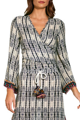 b4d8b952a0302c Beaded Cold Shoulder Flare Sleeve Knit Top