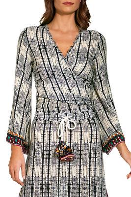 Border tie dye wrap blouse
