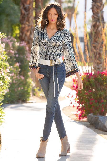 Border tie dye wrap blouse image