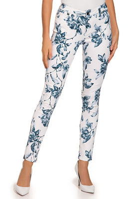 Blue floral ankle jean