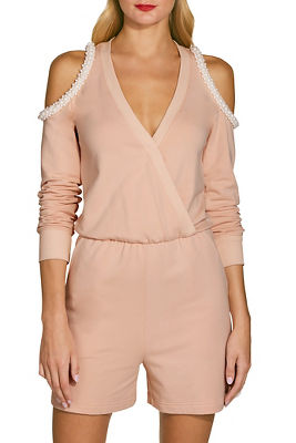 Cold shoulder pearl romper