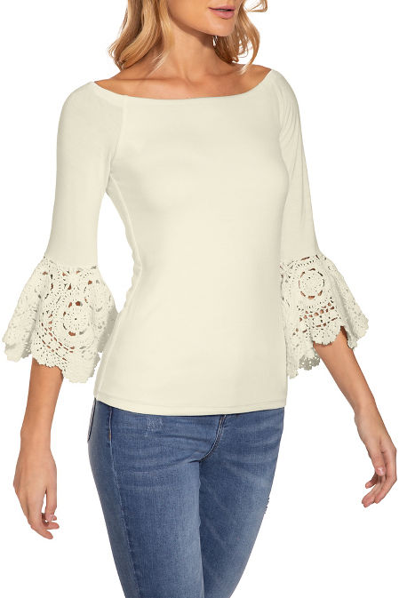 Crochet flare sleeve top image