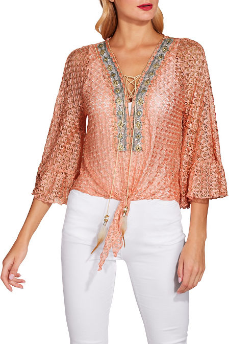 Embellished lace tie front top image